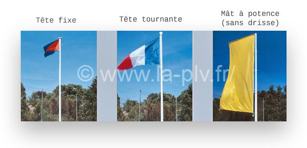 Mât drapeaux bannière fibre verre gamme TRADITION