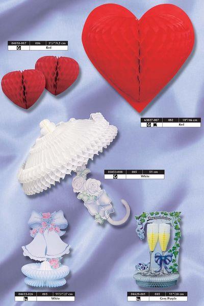 déco papier - décoration thème le mariage : ombrelle, coeurs, cloches et flûtes à champagne