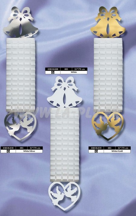 déco papier - décoration thème le mariage : petits kakemonos en papier avec cloches et oiseaux dans un coeur