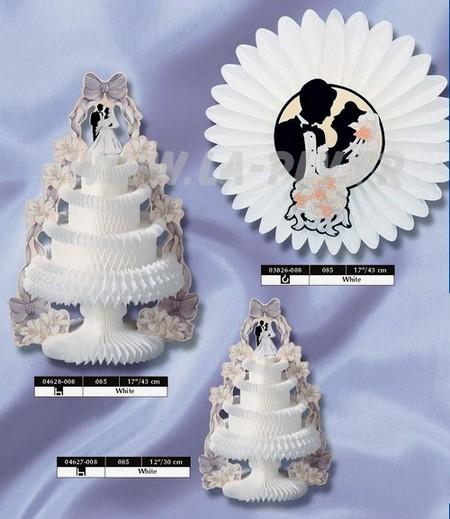 déco papier - décoration thème le mariage : fleur blanche et pièces montées