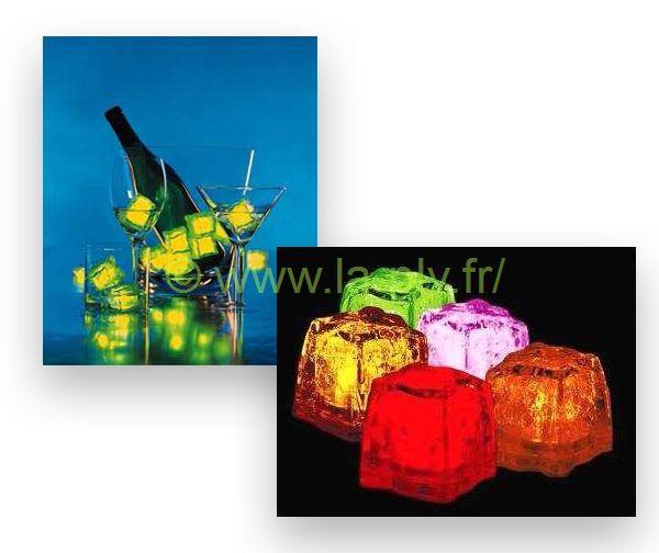 articles lumineux - glaçons lumineux et glaçons dans seau à champagne