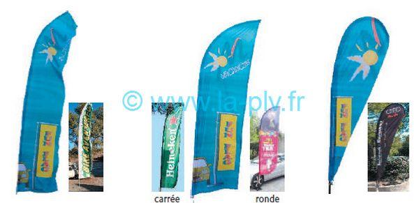 drapeaux publicitaires - formes des voiles des drapeaux publicitaires