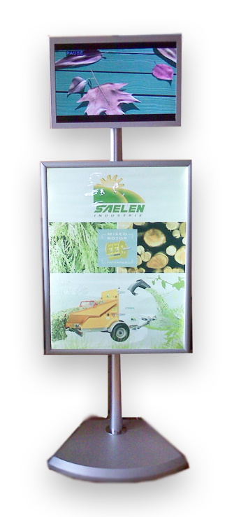 totem - ensemble composé d'un grand cadre clipsable et d'un écran Lcd vidéo player à mémoire