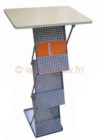 Porte brochure pliable tablette et rangement