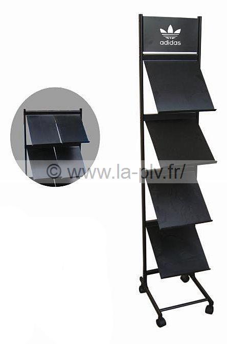 Porte brochure en métal avec tablettes pour documents