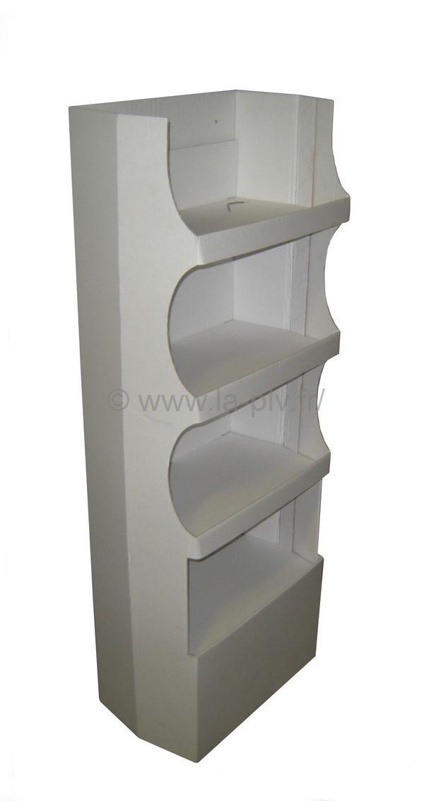 Présentoir - pièce de sol à étagères carton blanc