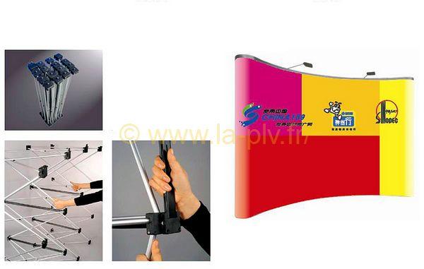 Stand parapluie - visuel avec éclairage - système de fixation