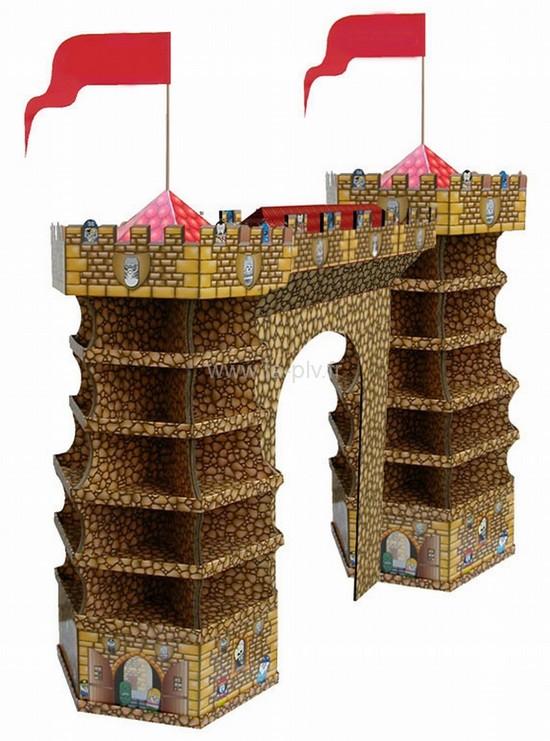 arche en carton - forme château fort avec pavillons