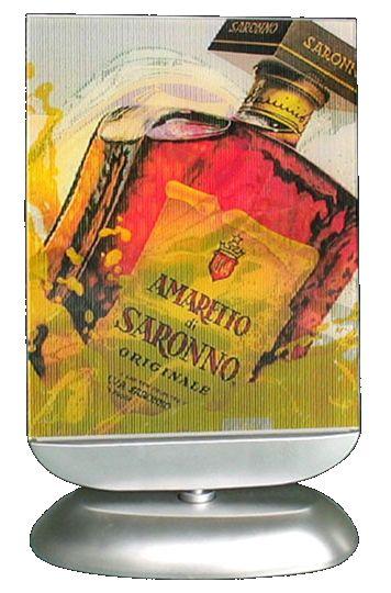 image lenticulaire - lamelles composant l'image de la bouteille